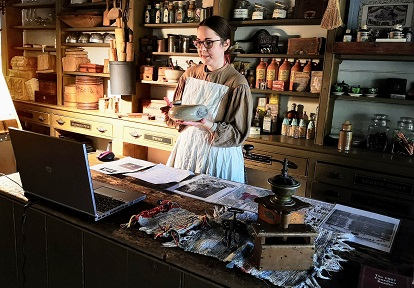costumed educator leads virtual field trip from Black Creek Pioneer Village