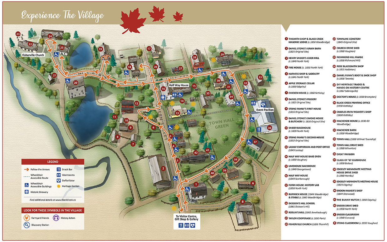 visitor map of Black Creek Pioneer Village showing route for self-guided tour