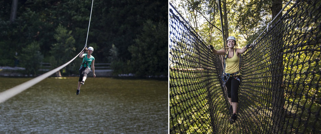 women enjoy treetop trekking at heart lake conservation area