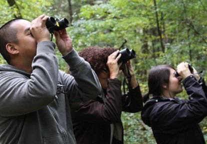 man and woman bird watching with binoculars
