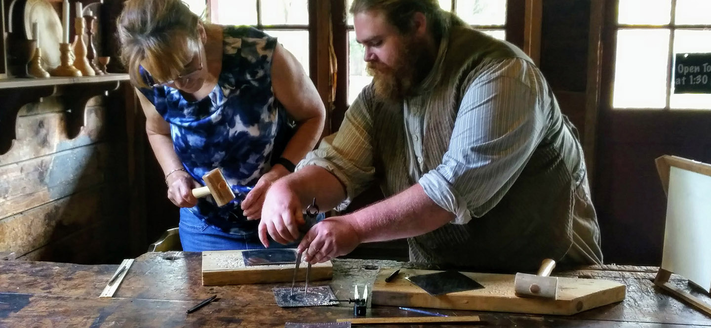 tinsmithing demonstration at black creek pioneer village