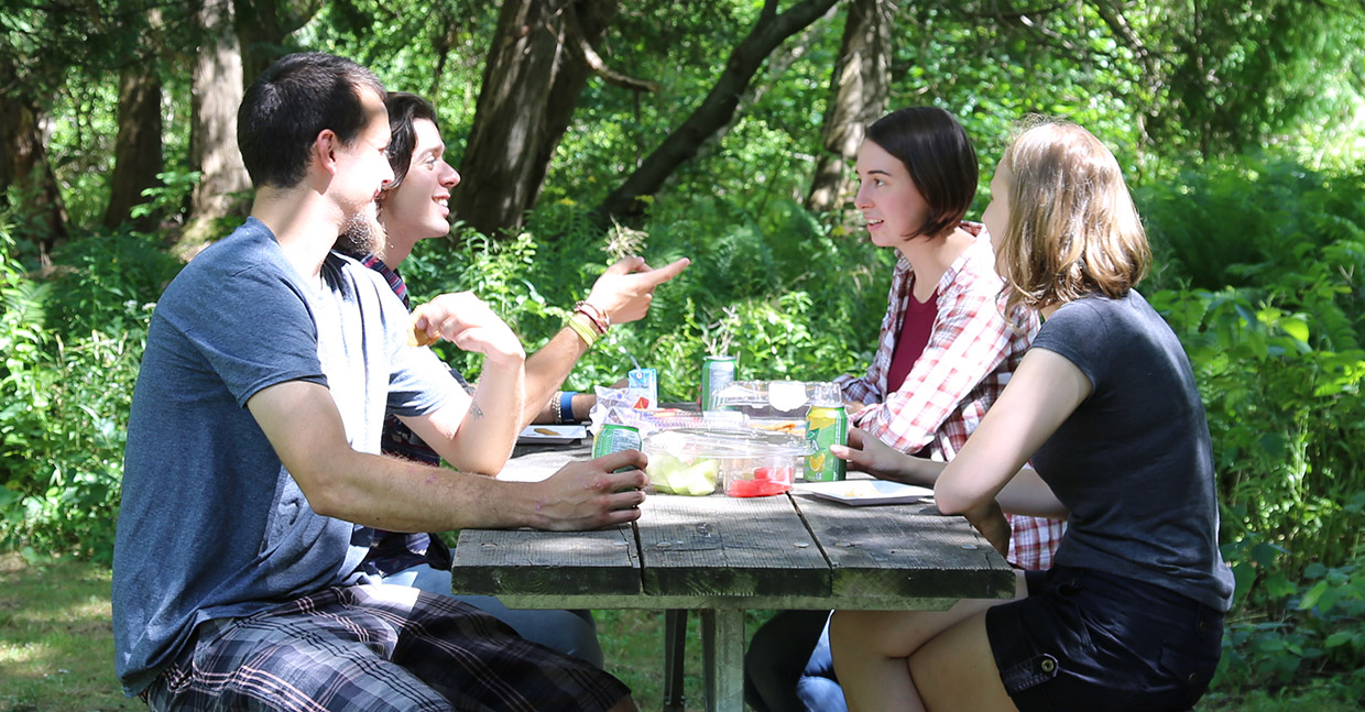 young people enjoy picnic at albion hills conservation area