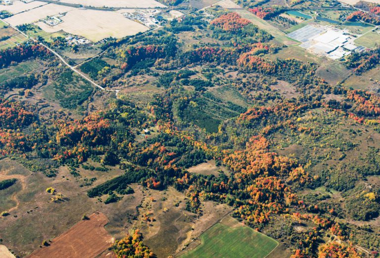 An aerial photo of Nashville Conservation Reserve taken Fall 2016