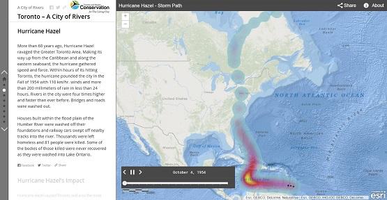 screen shot of Hurricane Hazel story map