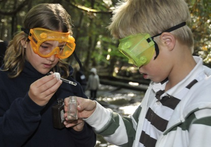 students conduct a stream water survey at Claremont Field Centre
