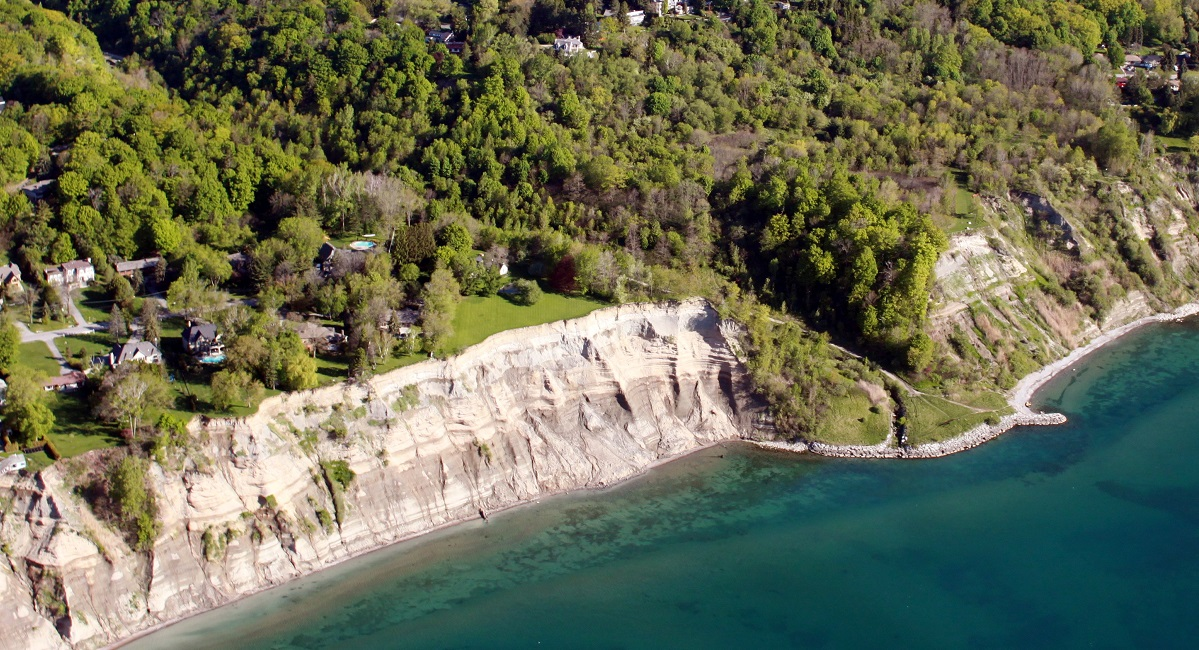 aerial view of the Scarborough Bluffs