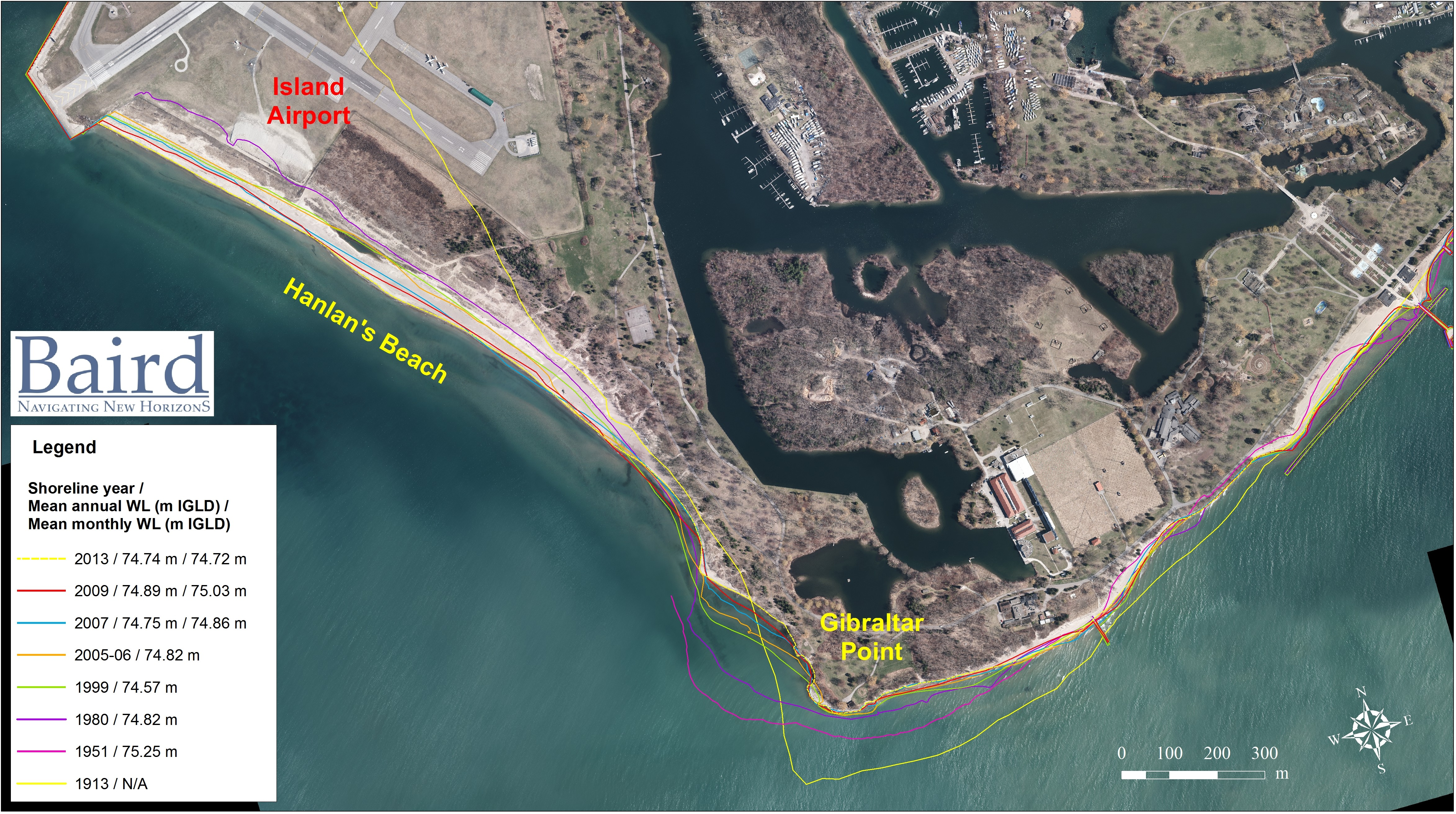 Gibraltar Point Erosion Control Project Historic Shoreline from 1913 to 2013