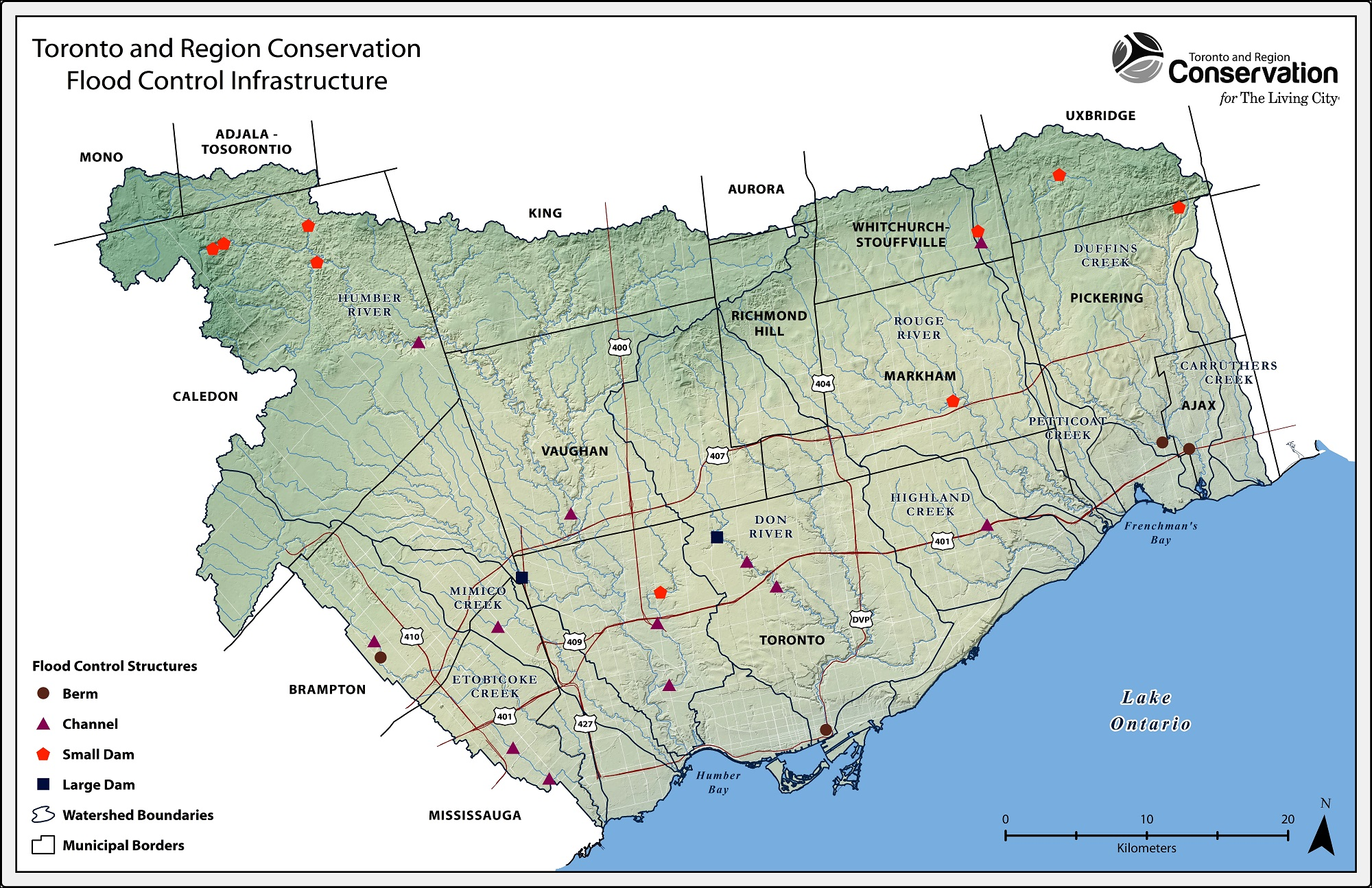TRCA Flood Control structures map