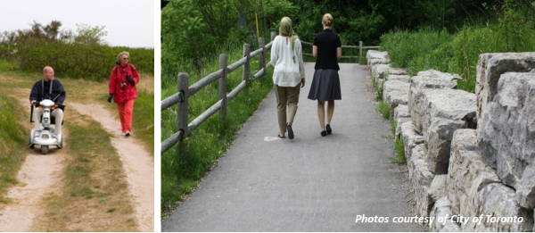 Left image: two people walking on a dirt trail, one of them on a scooter; Right image: two people walking up an accessible trail. Photos courtesy of City of Toronto