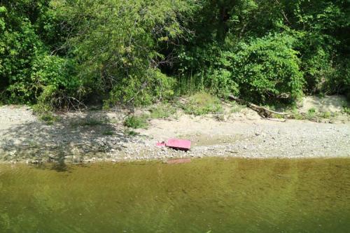 Litter along Highland Creek