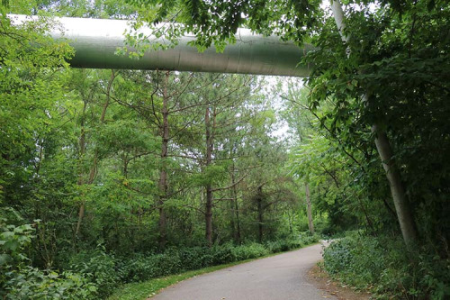 Utility pipe over Highland Creek