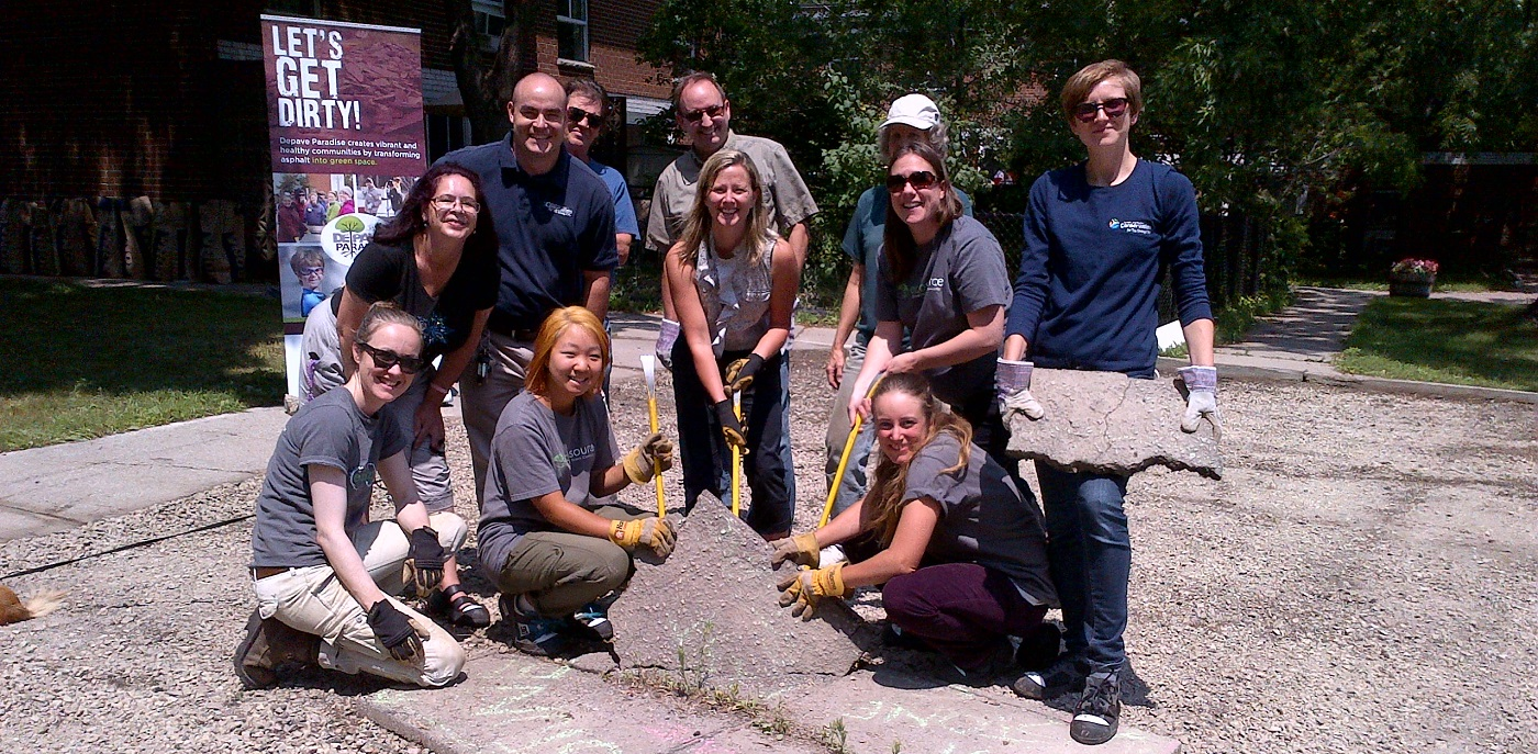 Local residents take part in the Burnhamthorpe SNAP Depave Paradise project