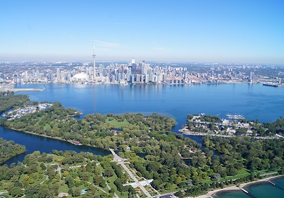 aerial view of the Toronto waterfront