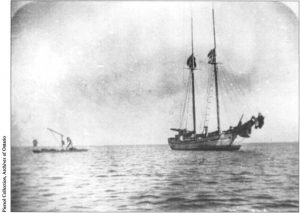 Historical photo of ship on Lake Ontario, stonehooking