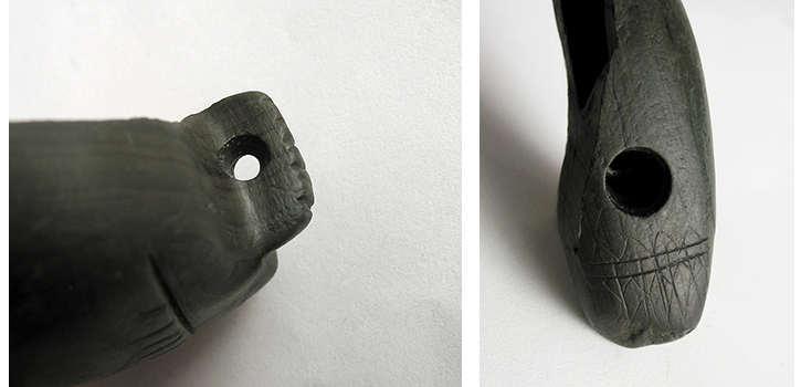 photographs of bird pipe archaeological artifact
