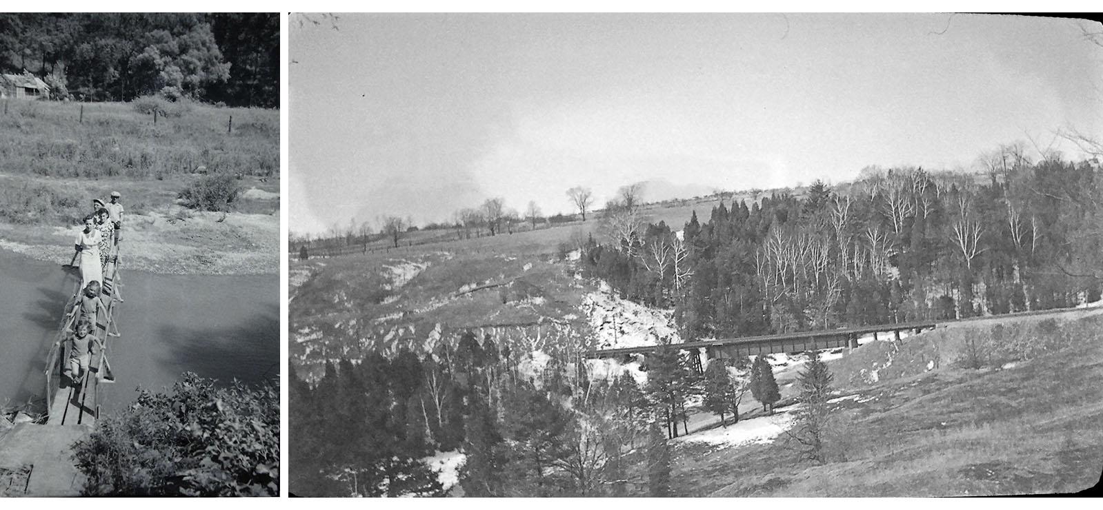 archival photographs of bridges across the Don River