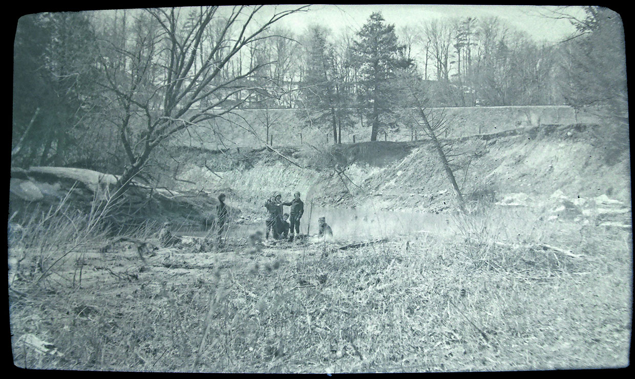 archival photograph of children playing along the Don River