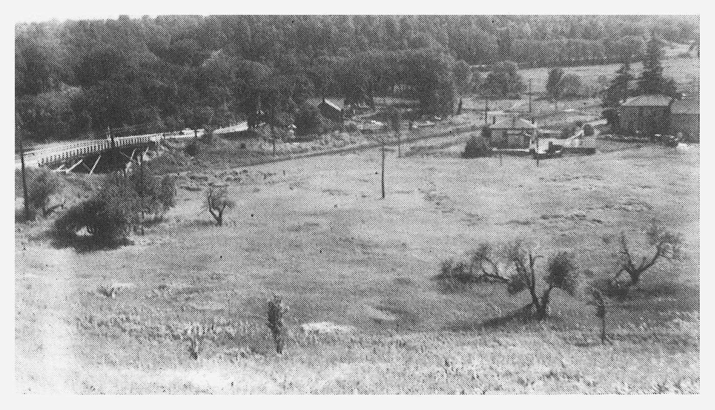 archival photograph of the area south of the Forks