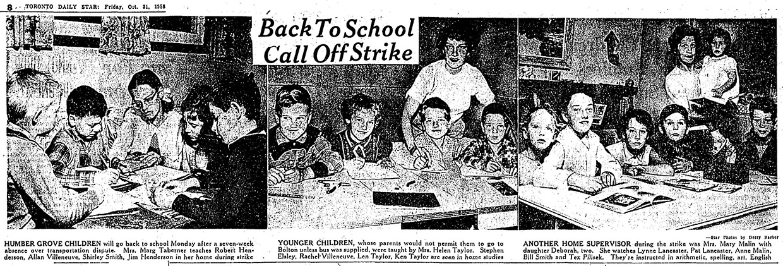 newspaper photographs of 1958 Humber Grove school strike