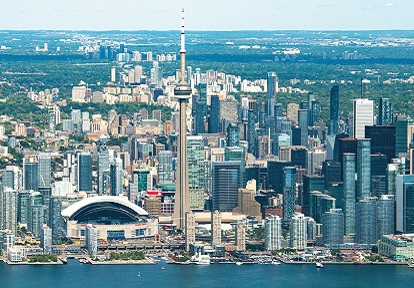 aerial view of Toronto lakefront