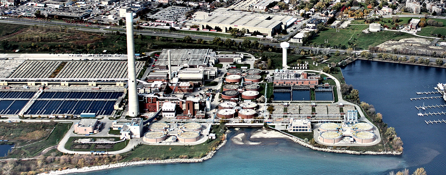 aerial view of Ashbridges Bay wastewater treatment plant