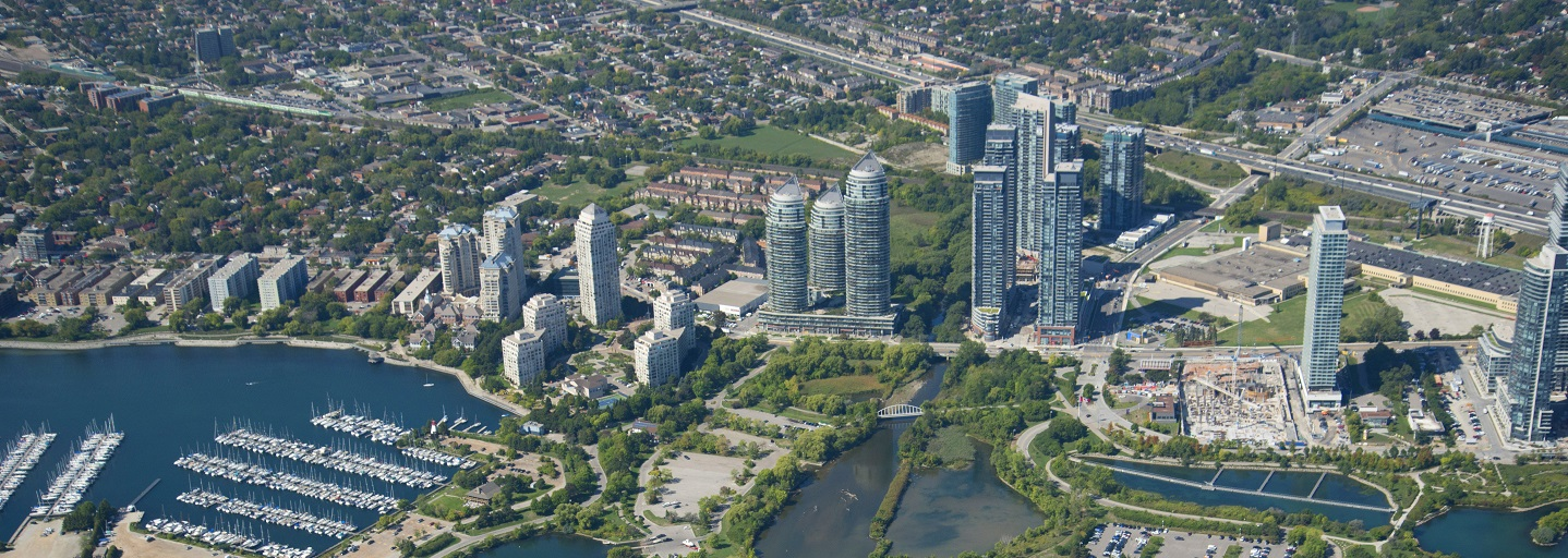 aerial view of Mimico waterfront