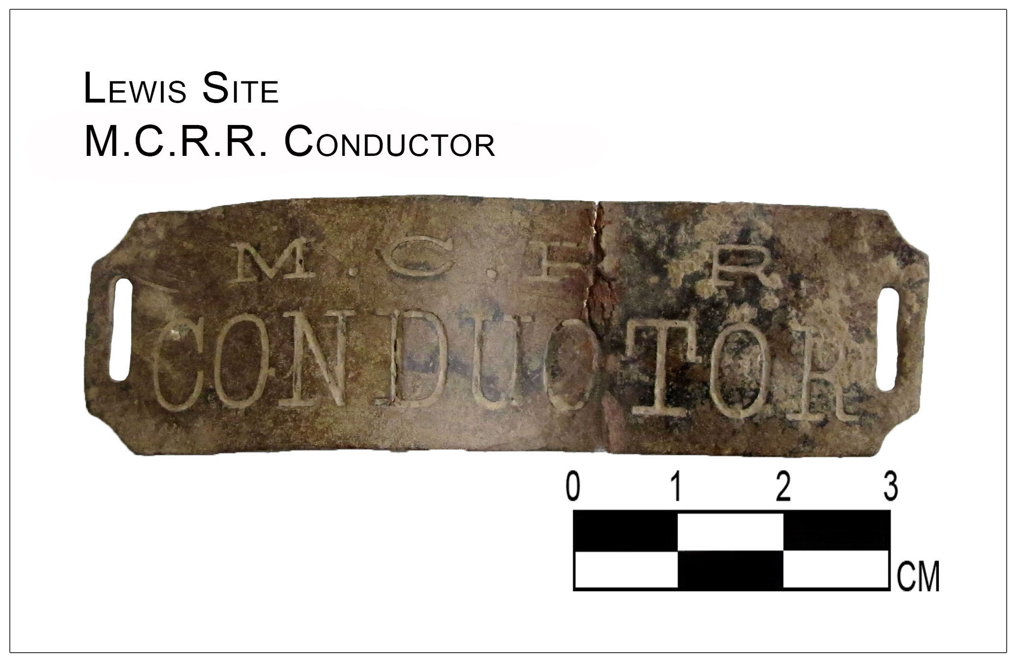 train conductor badge recovered from archaeological site