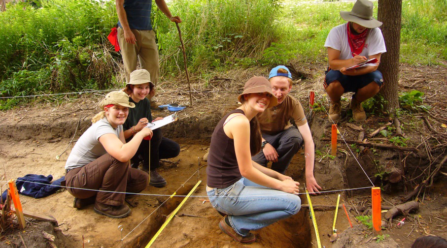 student from Boyd Archaeological Field School at Lewis Site