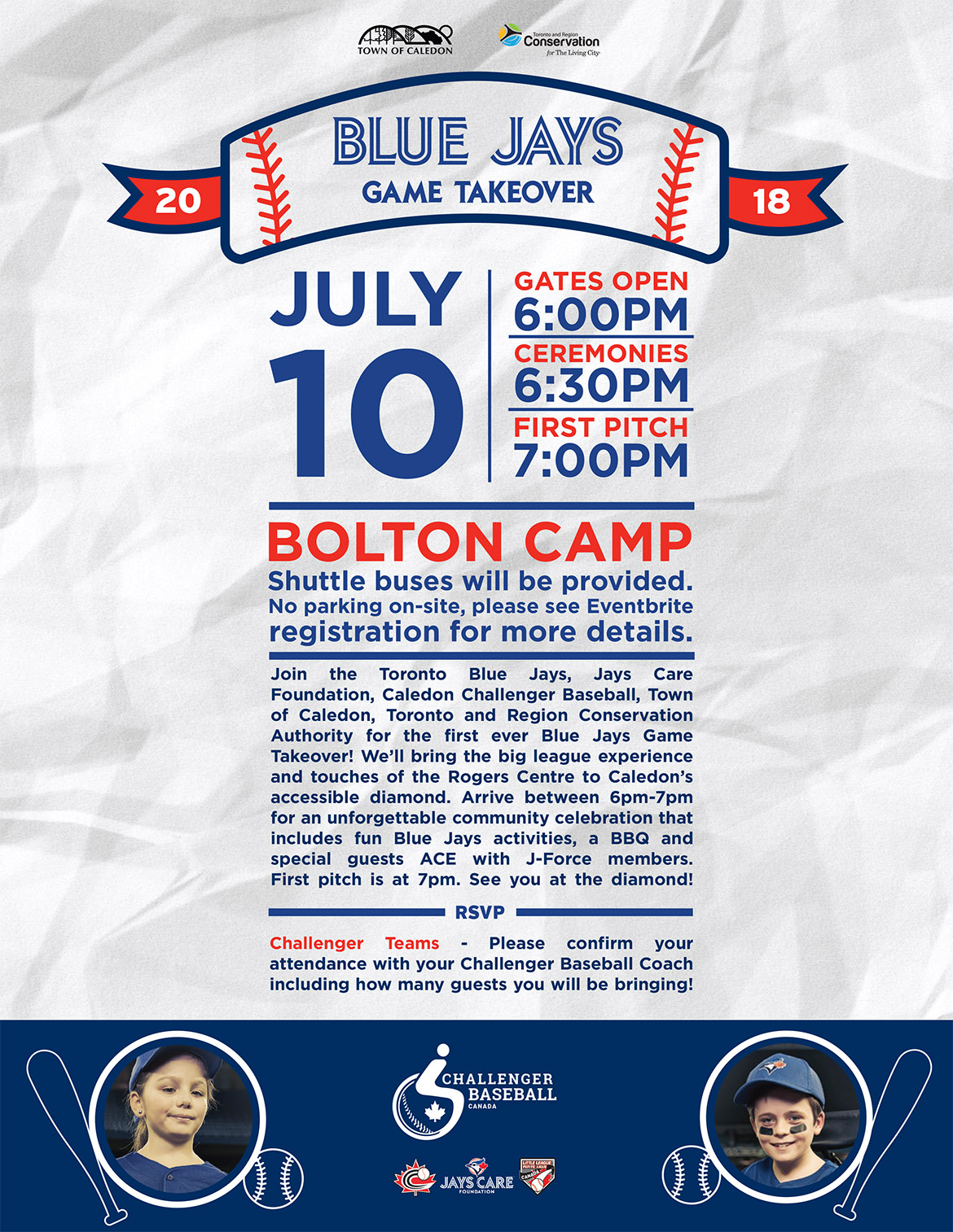Bolton Camp Blue Jays game takeover poster