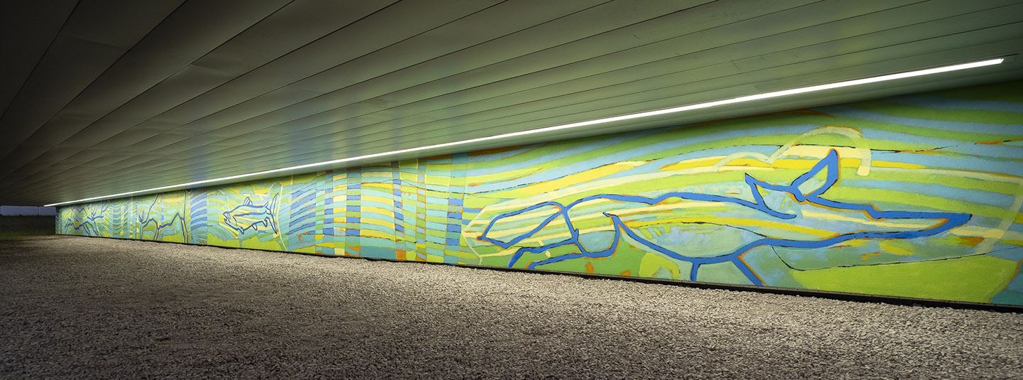 mural depicts flora and fauna of Don River