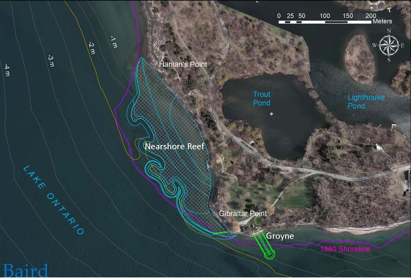 map of proposed nearshore reef at Gibraltar Point