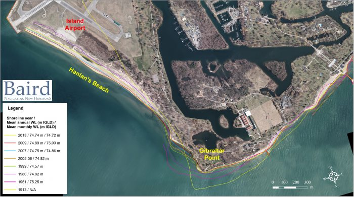 map showing historical shoreline erosion at Gibraltar Point