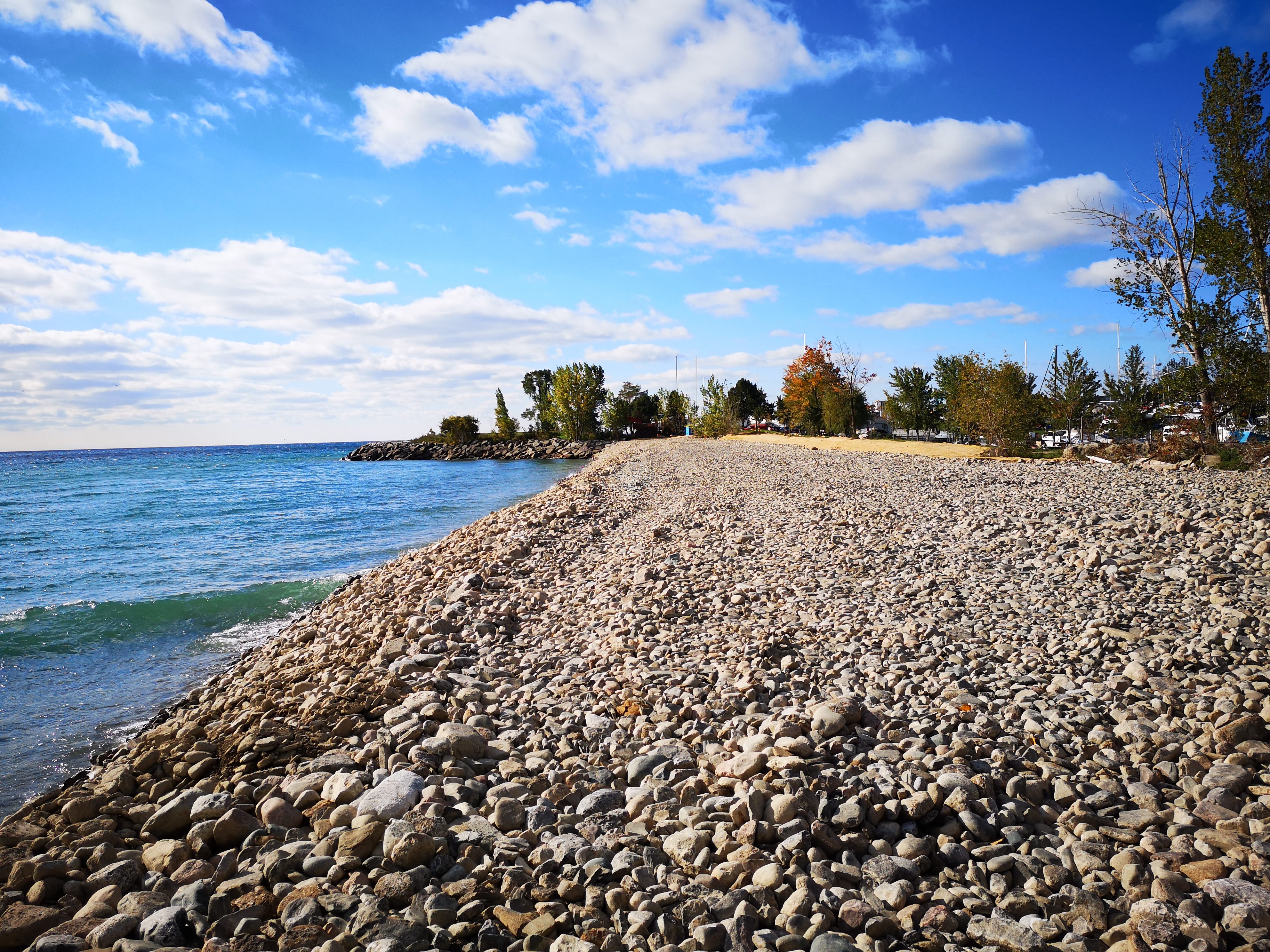 Completed cobble beach structure at near Bluffer's Park Marina. Source: TRCA, 2018
