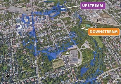 satellite map of downtown Brampton