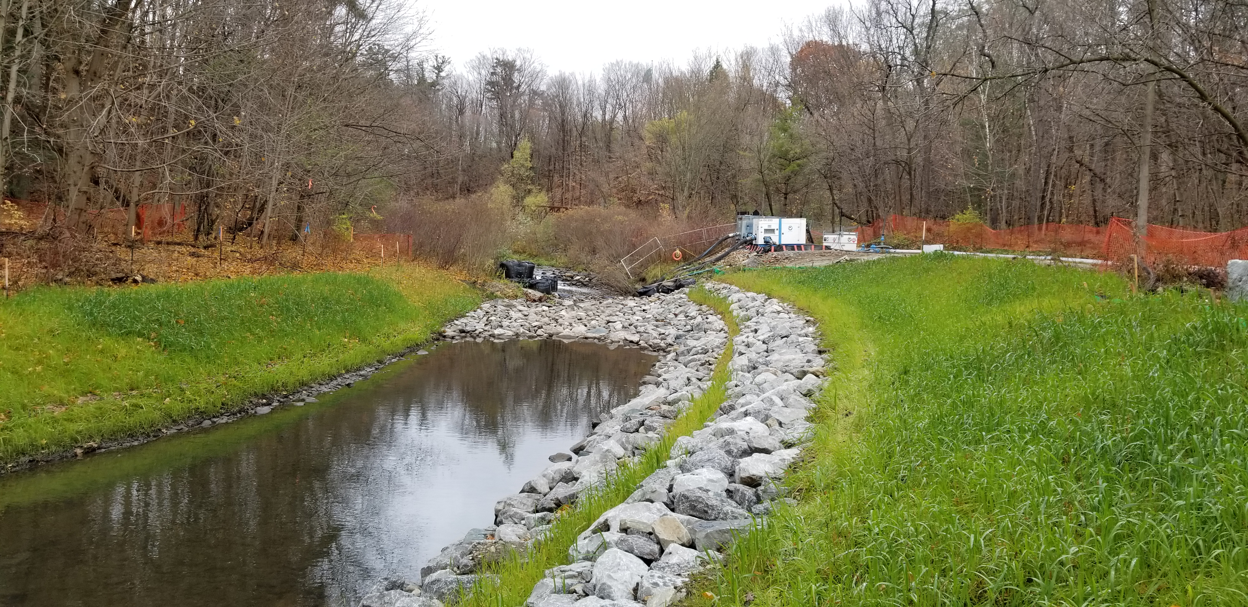 A stretch within the upstream portion of the works at Wilket Creek - Reach 2.