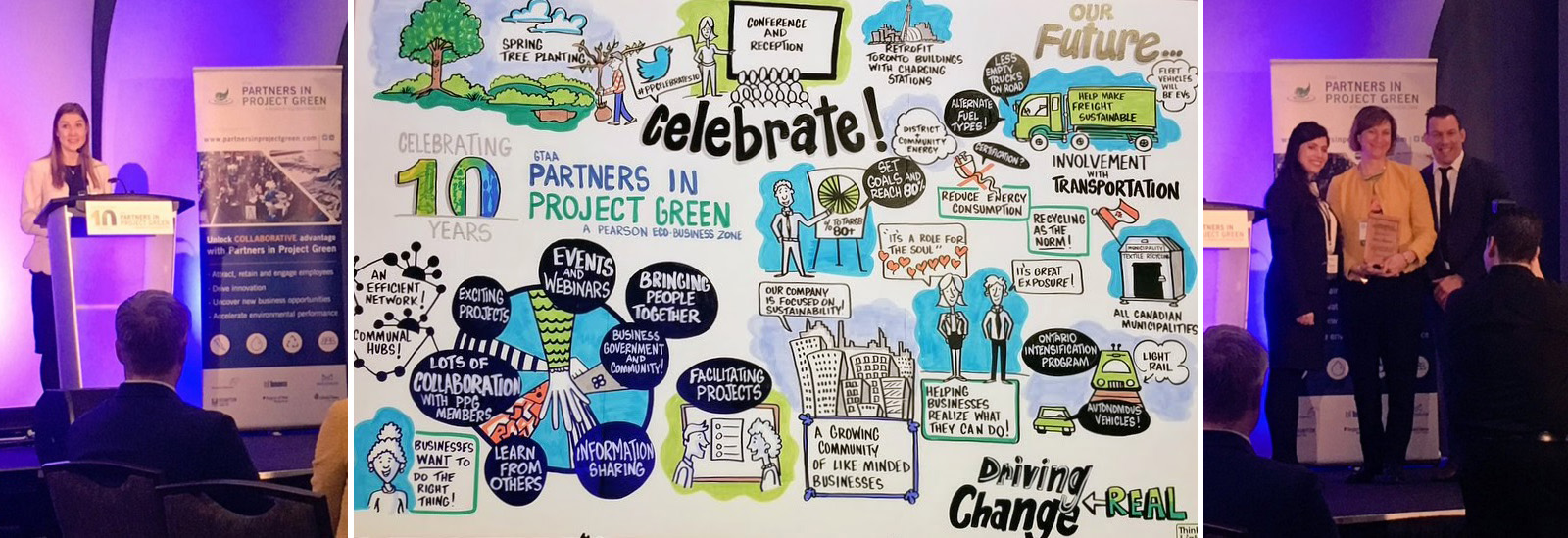 scenes from Partners in Project Green sustainable business celebration