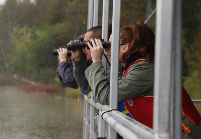 bird watchers at Lake St George field centre