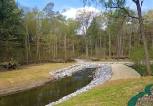 Vegetated buttress bank protection and pool and riffle system at Wilket Creek Park (Reach 2).