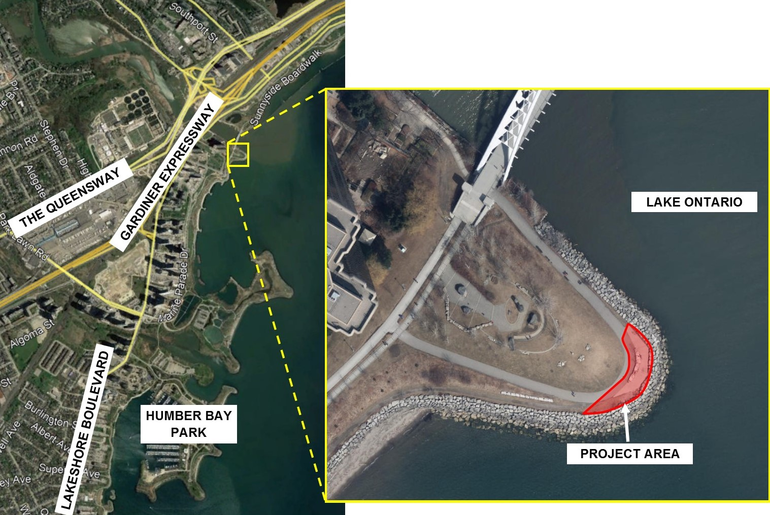 Map of the Humber Bay Shores Trail Maintenance project location and work area. Source: TRCA, 2019.