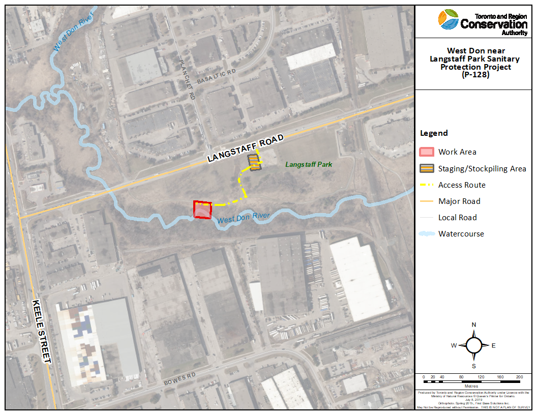 Map highlighting project area in relation to the closest main intersection of Langstaff Road and Keele Street.