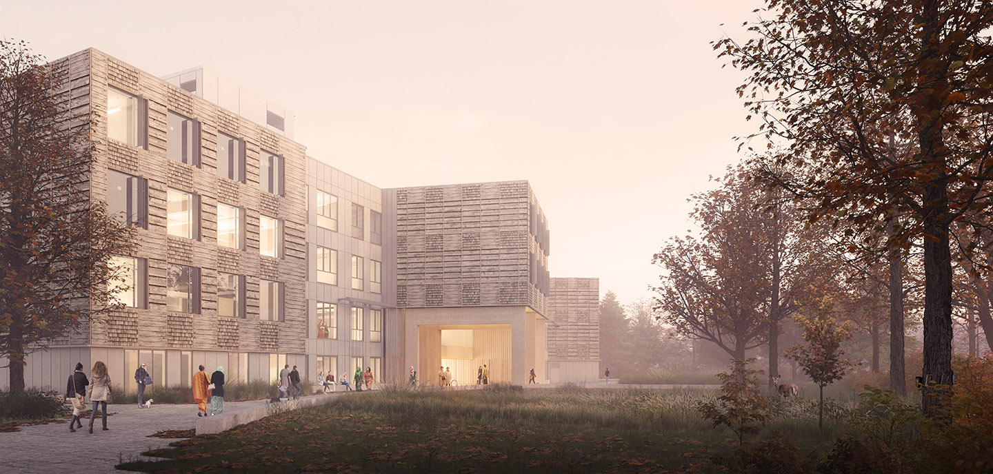 architectural rendering of new TRCA mass timber office building
