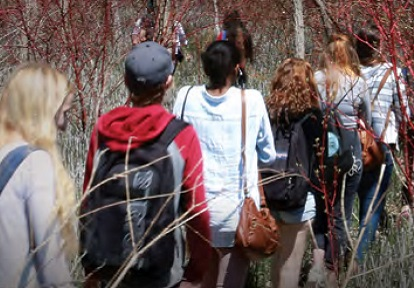 secondary school students on field trip at TRCA outdoor education centre