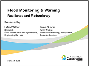 TRCA flood monitoring and warning presentation cover page