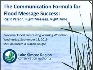 Communication formula for flood message success presentation cover page