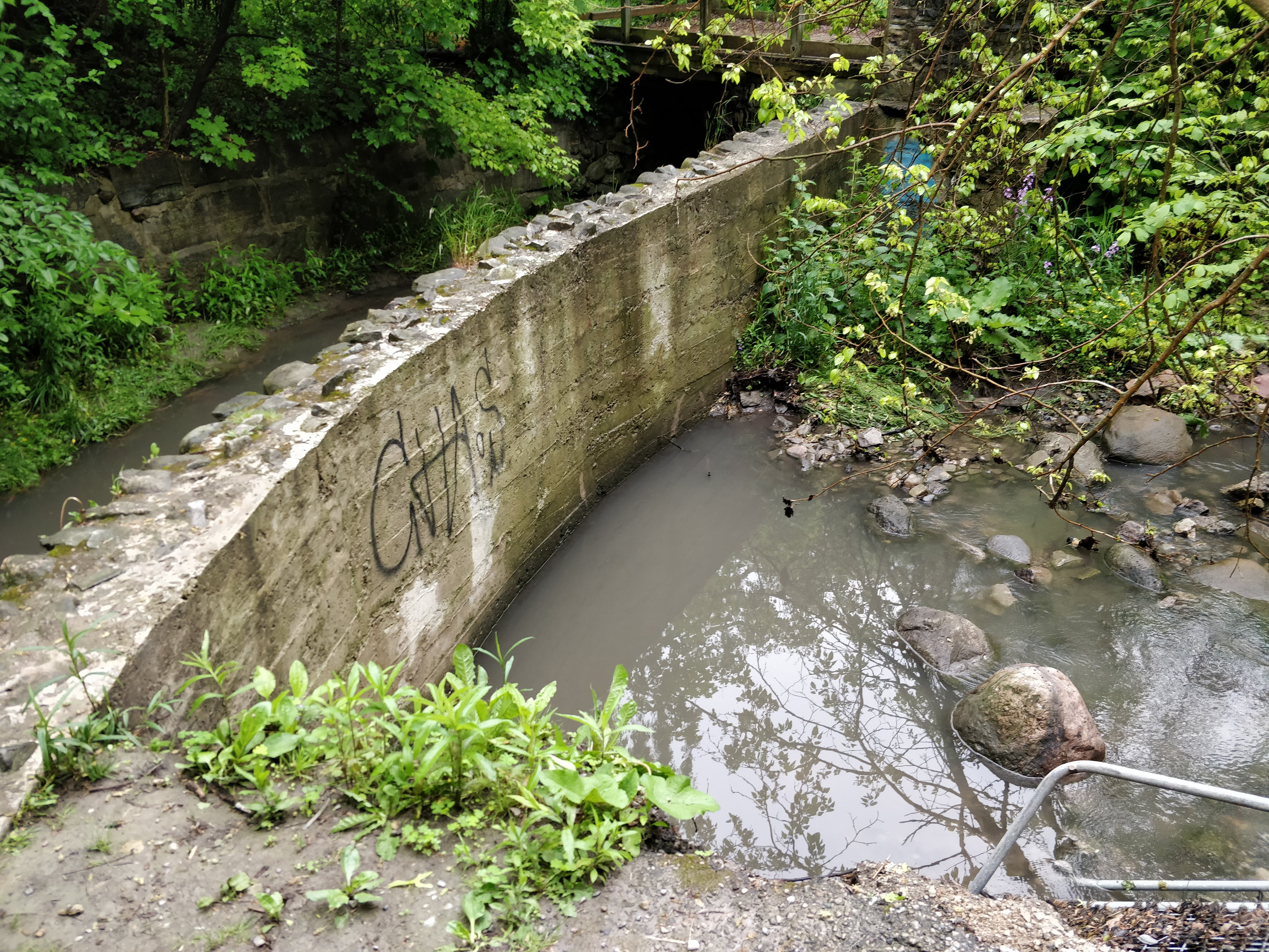 An exposed stone and mortar retaining wall located along Yellow Creek below Summerhill Gardens. Source: TRCA, 2019