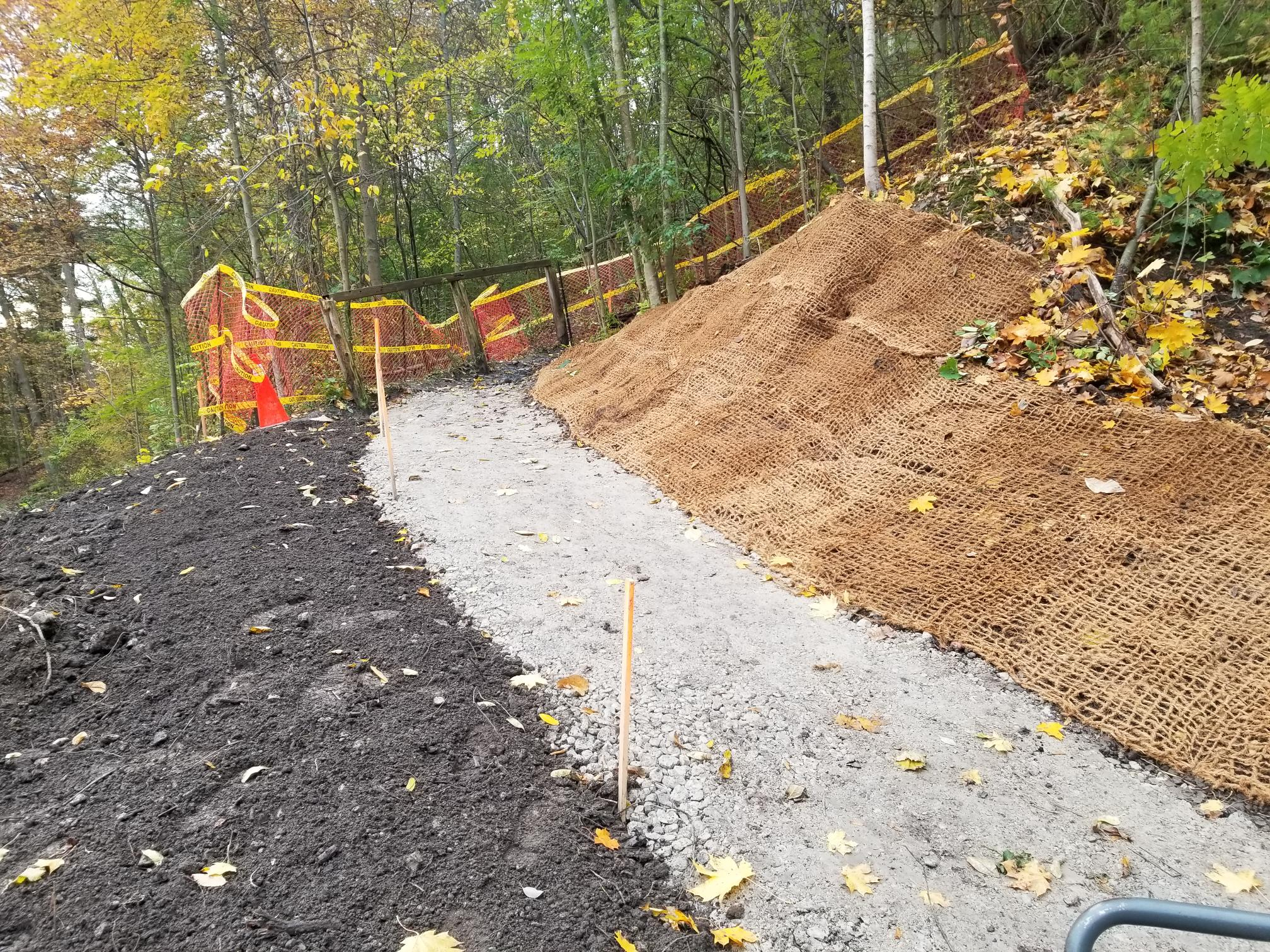 Restored pedestrian trail located along the west bank of Yellow Creek below Summerhill Gardens. Source: TRCA, 2019.