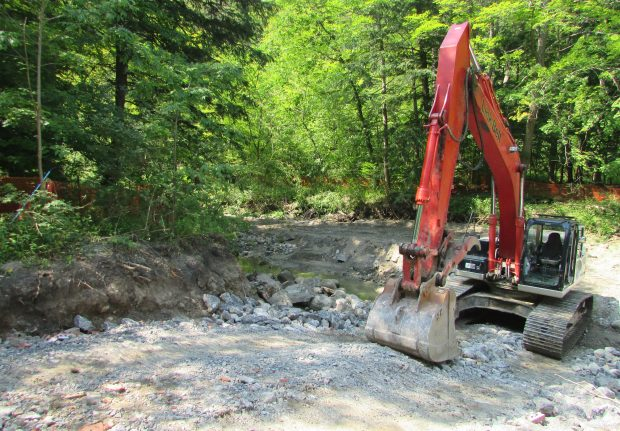 An excavator on a dirt trail by a small stream