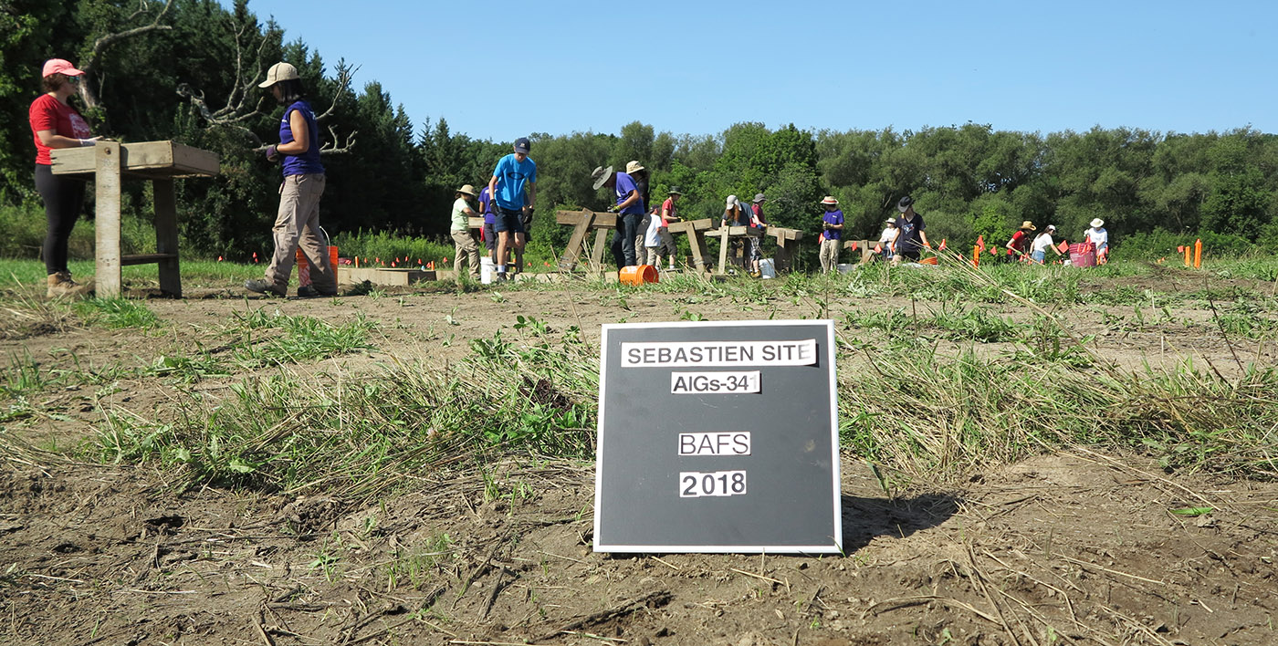 Boyd Field School students work on archaeological excavation at Sebastien site