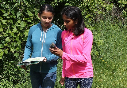 two girls on school field trip at Albion Hills Field Centre