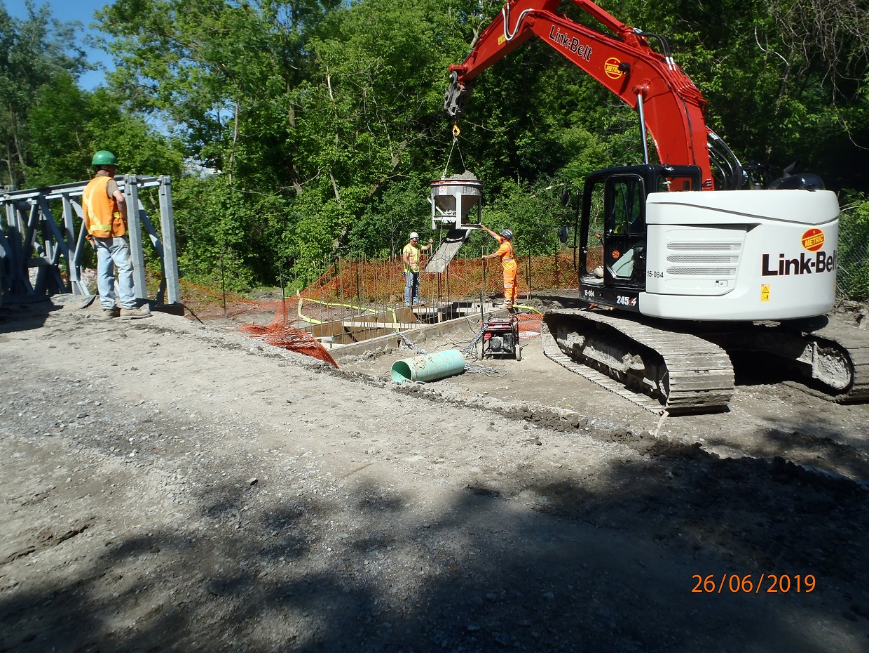 construction work on bridge over East Don River